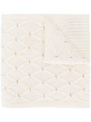 N.Peal Lattice Pattern Cashmere Scarf White