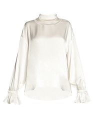 Fendi Open Neckline Satin Blouse White