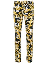 Versace Jeans Couture Logo Print Skinny Jeans Yellow