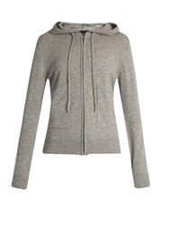 Pepper And Mayne Zip Through Hooded Cashmere Sweater Grey