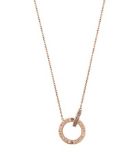 Michael Kors Rose Gold Tone Logo Circle Pendant Necklace