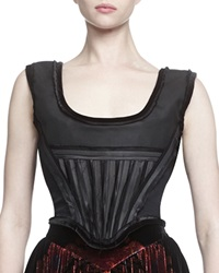 Givenchy Velvet Trimmed Woven Bustier
