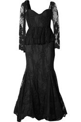 Brock Collection Diedre Ruffle Trimmed Embroidered Tulle And Lace Gown Black