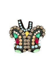 P.A.R.O.S.H. Butterfly Embellished Brooch Metallic