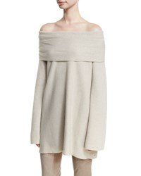 Lafayette 148 New York Off The Shoulder Cashmere Sweater Oatmeal Melange