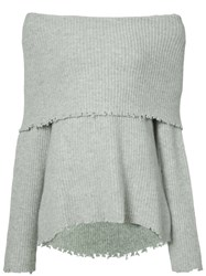 Rta Off The Shoulder Oversized Sweater Grey