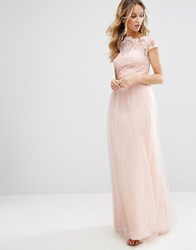 Chi Chi London Premium Lace Maxi Dress With Tulle Skirt And Cap Sleeve Blush Pink