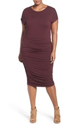 Vince Camuto Plus Size Women's Side Ruched Jersey Midi Dress Raisin