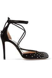 Jimmy Choo Kamron Lace Up Embellished Suede Pumps Black