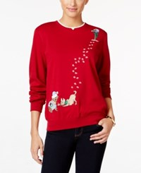 Alfred Dunner Petite Classics Holiday Dogs Sweater Red