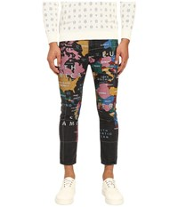 Love Moschino World Print Cropped Slim Fit Denim Multi Men's Jeans