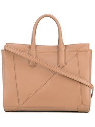 Max Mara Double Handles Tote Calf Leather Brown
