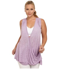 Marika Curves Plus Size Terri Drape Racerback Tank Heather African Violet Women's Workout