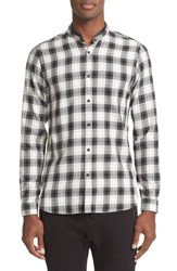 The Kooples Men's Trim Fit Check Shirt With Detachable Leather Collar