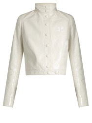 Courreges Stand Collar Patent Faux Leather Jacket Ivory