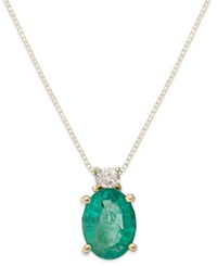 Macy's 14K Gold Necklace Emerald 1 1 10 Ct. T.W. And Diamond Accent Oval Pendant Green