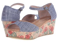 Toms Platform Wedge Chambray Floral Cork Women's Wedge Shoes Blue