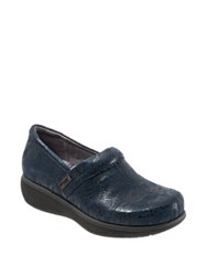 Softwalk Meredith Textured Leather Clog Navy