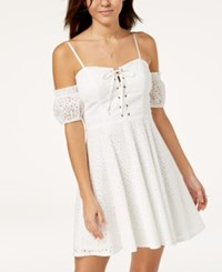City Triangles Juniors' Cold Shoulder Eyelet Dress White