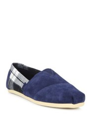 Toms Canvas And Suede Slip On Shoes Navy