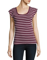 Lord And Taylor Striped Rib Knit Tee Purple