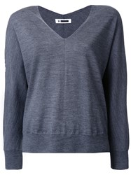 H Beauty And Youth. V Neck Jumper Grey