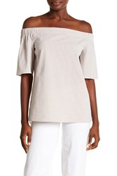 Lafayette 148 New York Livvy Off The Shoulder Gingham Top Khaki Multi