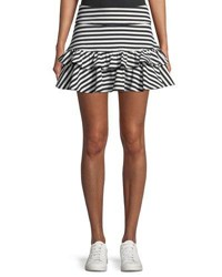 Kate Spade Stripe Ruffle Mini Skirt Black White