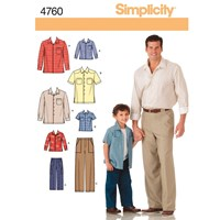 Simplicity Men's Boys' Shirt And Pants Sewing Pattern 4760 A
