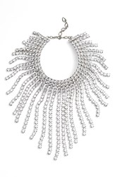 Cristabelle Graduated Fringe Statement Necklace Clear Silver