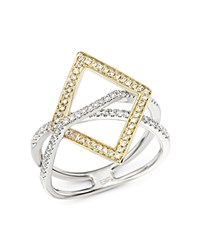Bloomingdale's Diamond Geometric Statement Ring In 14K White And Yellow Gold .40 Ct. T.W. White Gold