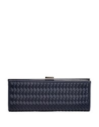 La Regale Woven Fabric Frame Clutch Navy Blue