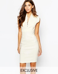 Vesper V Neck Midi Pencil Dress With Cap Sleeve Ivory
