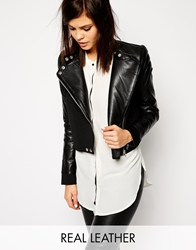 Y.A.S Leather Jacket With Scuba Body Black
