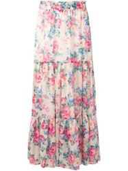 Twin Set Floral Print Maxi Skirt Pink