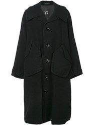 Y's Single Breasted Midi Coat Black