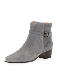 Coach Chrystie Suede Buckle Ankle Booties Gray