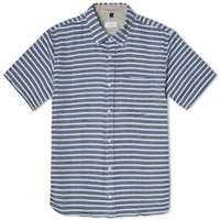 Apolis Short Sleeve Jacquard Shirt White And Navy