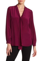 Amanda Uprichard Francesca Front Tie Long Sleeve Blouse Pink