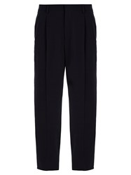 Giorgio Armani Pleat Detail Tapered Leg Stretch Wool Trousers Navy