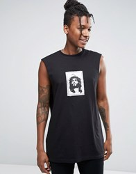 Asos Oversized Sleeveless T Shirt With Patch Applique Black