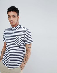 Original Penguin Neppy Bold Stripe Short Sleeve Shirt Buttondown Slim Fit Embroidered Logo In Navy Dark Sapphire