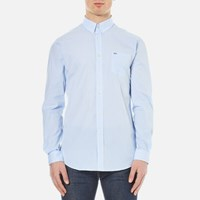 Lacoste Men's Striped Oxford Long Sleeve Shirt Nattier Blue 07E White