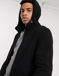 Tom Tailor Teddy Hoody Jacket In Black