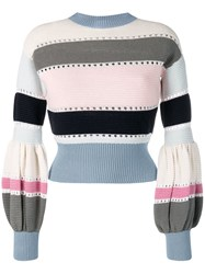 Self Portrait Puff Sleeve Striped Sweater Blue