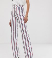 Asos Design Tall Full Length Flare Jeans In Stripe With Exposed Fly Detail Multi