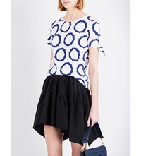 J.W.Anderson Knot Detail Circle Print Cotton Jersey T Shirt Indigo Circle