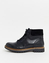 Base London Fawn Lace Up Hiker Boots In Black