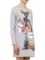 Moschino Capsule Long Sleeve Rat Print Cotton Jersey Dress Grey