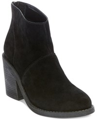 Steve Madden Women's Shrines Back Zipper Block Heel Booties Women's Shoes Black Suede